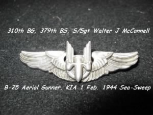S/Sgt Walter J McConnell, KIA on Sea-Sweep on 1 Feb. 1944