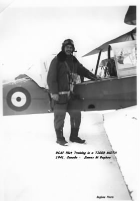 Ogden's friend Jim Bugbee next to the Tighr Moth Trainer /RCAF, Canada, 1941