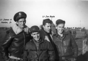 321stBG, 447thBS, Lt James Hanlon with his Combat-Officer friends. 1943-44