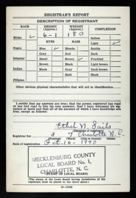 Charles A McKInney, Draft/Registration Card.