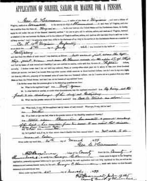 George C. Hamman - Appication of Soldier, Sailor or Marine for a Pension
