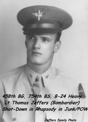 458th BG, 754th BS, Lt Thomas Jeffers, Bombardier/ Shot-down /POW
