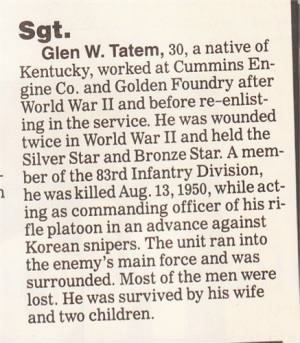Glen W. TATEM'S Death Announcement, 1950