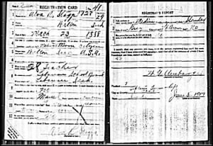 Alva R Staggs WWI Draft Card