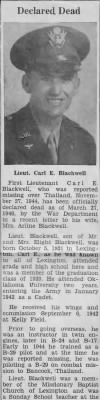 Newspaper article on Carl Blackwell