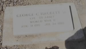 Corp George Cortez Hackett Sr Air Force Headstone