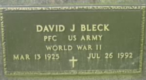 Pvt David John Bleck Sr Military Headstone