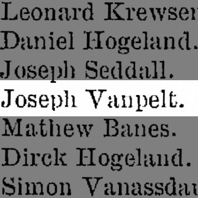 Joseph VanPelt listed as Private in Southampton Twp, Bucks Co. Militia
