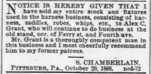 Samuel Chamberlain 1889 Notice Sale of Harness Business.jpg