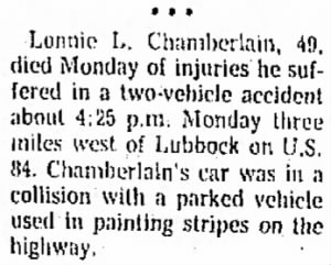 Lonnie L Chamberlain Jr 1976 Fatal Accident.png