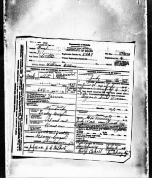 William Owens, Death Certificate