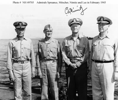 Spruance, Mitscher, Nimitz, and Lee on board USS Indianapolis.jpg - Fold3.com