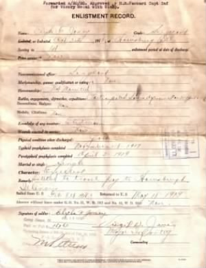 Clyde - Enlistment Record, WWI.jpg