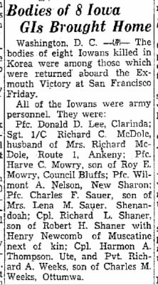 Waterloo Daily Courier 5 Oct 1951 Helen Weis McDole Husband PFC Richard McDole Dead.jpg