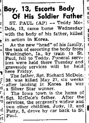 Cedar Rapids Gazette 25 Oct 1951 McDole buried in St.Paul.jpg