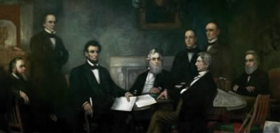 First Reading of the Emancipation Proclamation of President Lincoln, painted by Francis Bicknell Carpenter in 1864. From left to right: Secretary of War Edwin Stanton, Secretary of the Treasury Salmon Chase, President Abraham Lincoln, Secretary of the Navy Gideon Welles, Secretary of State William Seward (seated), Secretary of the Interior Caleb B. Smith, Postmaster General Montgomery Blair, Attorney General Edward Bates Oil on canvas, 1864