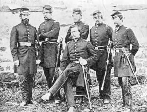 Left to right Captain Wilson Farrell, 1st Lieutenant Sam Raguet, Captain Louis Muller, Lieutenant Charles Zierenverg and Captain Henry Coates. Seated is Captain Mark Downie.jpg