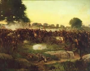 Battle of Gettysburg oil painting by Rufus Zogbaum, in the Governor's Reception Room at the Minnesota State Capitol..jpg