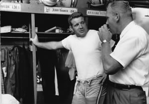 Line coach Bill Austin, right, talks with Jim Ringo in 1961..jpg