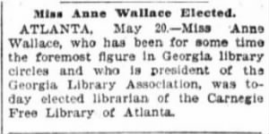 Anne Wallace 1899 Elected Carnegie Librarian.JPG