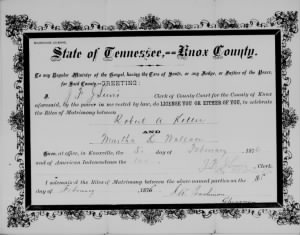 Martha K Wallace 1876 to R A Keller Marr License.jpg