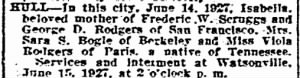 Isabella Rodgers Hull 1927 SF Chron Death Notice.jpg