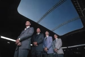 Tom Landry, GM Tex Schramm, vice president of player personnel Gil Brandt and owner Clint Murchison at Texas Stadium in 1982..jpg