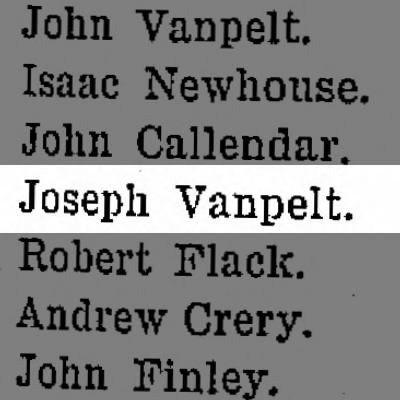 Joseph VanPelt listed on muster roll for Co. A, New Britain, Bucks Co., PA