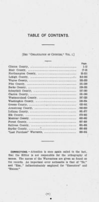 Provincial Papers: Warrantees of Land in the Several Counties of the State of Pennsylvania. 1730-1898. › Page v - Fold3.com