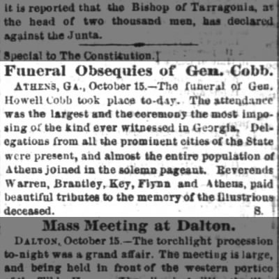 Funeral of Howell Cobb reported in the Atlanta Constitution 16 October 1868
