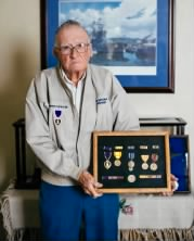 Donald Stratton with his medals