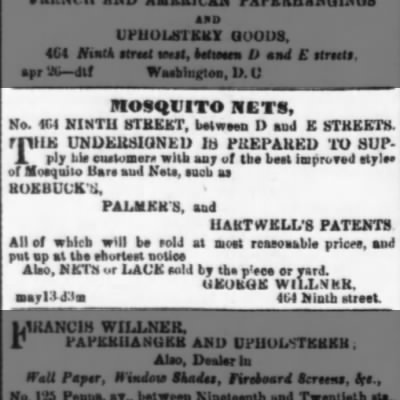 Mosquito nets for sale in 1865