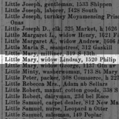 Little Mary, widow Lindsay, 1520 Philip