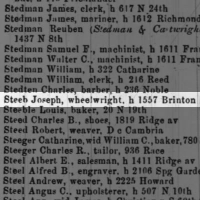 Steeb Joseph, wheelwright, h 1557 Brinton