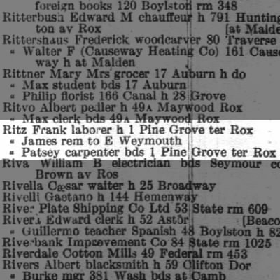 1914 Boston City Directory with Dad's uncles Frank & James & father Patsey.