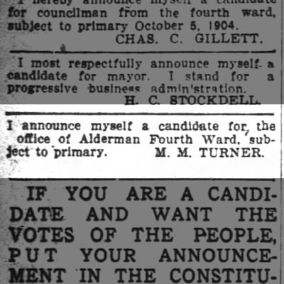 M.M. Turner -- Candidate for Alderman of the Fourth Ward