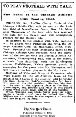 Ben thomas and football, Chicago Athletic Association and Yale