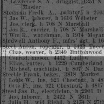 Steeb Chas, weaver, h 2340 Buttonwood