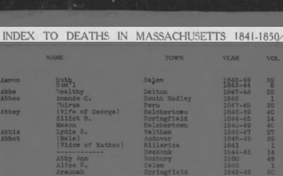 Index to Deaths in Massachusetts 1841-1850